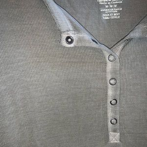 American Eagle Outfitters Tops - American Eagle olive green button up tee shirt